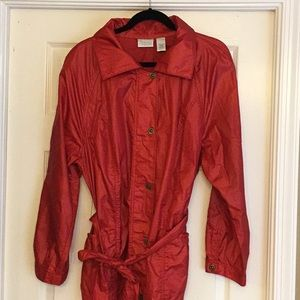 Chico's Deep Red Belted Rain Jacket